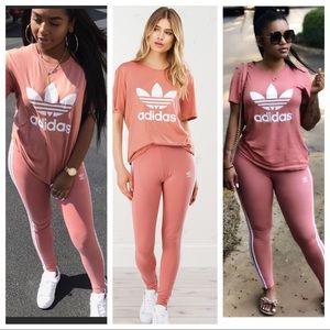 81b721187157f adidas Pants   Ash Pink 3 Stripe Leggings Tshirt Set   Poshmark